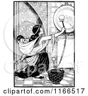 Clipart Of A Retro Vintage Black And White Mother Ringing A Gong With A Baby On Her Back Royalty Free Vector Illustration