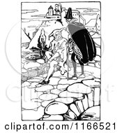 Clipart Of A Retro Vintage Black And White Medieval Man And Jester Near A Castle Royalty Free Vector Illustration by Prawny Vintage