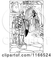 Clipart Of A Retro Vintage Black And White Medieval Jester Hiding Behind A Knight Statue Royalty Free Vector Illustration by Prawny Vintage