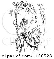 Clipart Of A Retro Vintage Black And White Medieval Horseback Knight Picking A Pear Royalty Free Vector Illustration