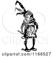 Clipart Of A Retro Vintage Black And White Native American Royalty Free Vector Illustration
