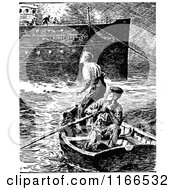 Clipart Of A Retro Vintage Black And White Men In A Boat By A Ship Royalty Free Vector Illustration by Prawny Vintage