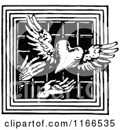 Retro Vintage Black And White Hands Releasing A Winged Heart Through A Barred Window