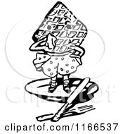 Clipart Of A Retro Vintage Black And White Waffle Man Royalty Free Vector Illustration
