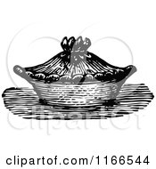 Clipart Of A Retro Vintage Black And White Pie Royalty Free Vector Illustration