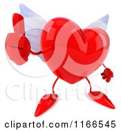 Clipart Of A 3d Red Winged Heart Holding A Thumb Up Royalty Free CGI Illustration by Julos