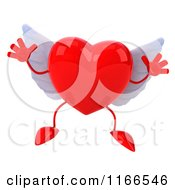 Clipart Of A 3d Jumping Red Winged Heart Royalty Free CGI Illustration by Julos