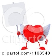 Clipart Of A 3d Red Winged Heart Holding A Sign Royalty Free CGI Illustration by Julos
