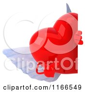 Clipart Of A 3d Red Winged Heart Holding A Sign 2 Royalty Free CGI Illustration by Julos