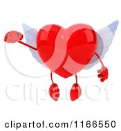 Clipart Of A 3d Flying Red Winged Heart Royalty Free CGI Illustration by Julos