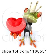Clipart Of A 3d Green Frog Prince Wearing A Tuxedo And Holding A Valentine Heart Royalty Free CGI Illustration
