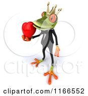 Clipart Of A 3d Green Frog Prince Wearing A Tuxedo And Holding A Valentine Heart 2 Royalty Free CGI Illustration