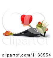 Clipart Of A 3d Green Reclined Frog Prince Wearing A Tuxedo And Holding A Valentine Heart Royalty Free CGI Illustration by Julos