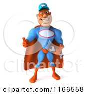 Clipart Of A 3d Thumb Up Super Hero Mechanic In Red And Blue Royalty Free CGI Illustration