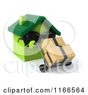 Clipart Of A 3d Green House Wearing Shades And Pushing Boxes On A Dolly Royalty Free CGI Illustration