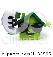 Clipart Of A 3d Green House Wearing Shades And Holding A Euro Symbol 2 Royalty Free CGI Illustration