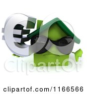 Clipart Of A 3d Green House Wearing Shades And Holding A Euro Symbol Royalty Free CGI Illustration