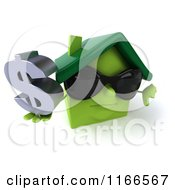 Clipart Of A 3d Green House Wearing Shades And Holding A Dollar Symbol Royalty Free CGI Illustration