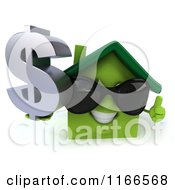 Clipart Of A 3d Green House Wearing Shades And Holding A Dollar Symbol 2 Royalty Free CGI Illustration