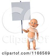 3d Caucasian Baby Boy Holding A Sign