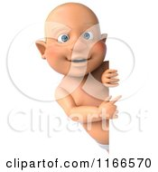 Clipart Of A 3d Caucasian Baby Boy Pointing To A Sign Royalty Free CGI Illustration