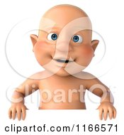 Clipart Of A 3d Caucasian Baby Boy Over A Sign Royalty Free CGI Illustration