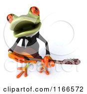 Clipart Of A 3d Green Frog Singing And Playing A Guitar Royalty Free CGI Illustration