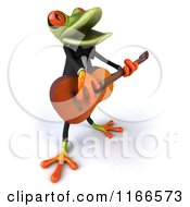 Clipart Of A 3d Green Frog Singing And Playing A Guitar 2 Royalty Free CGI Illustration