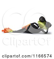 Clipart Of A 3d Reclined Green Frog In A Tuxedo And Sunglasses Royalty Free CGI Illustration