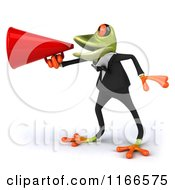 Clipart Of A 3d Green Frog In A Tuxedo Announcing Through A Megaphone Royalty Free CGI Illustration