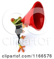 Clipart Of A 3d Green Frog In A Tuxedo Announcing Through A Megaphone 2 Royalty Free CGI Illustration