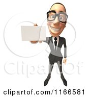 Clipart Of A 3d White Businessman Holding Out His Business Card 2 Royalty Free CGI Illustration