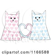 Cat Couple With Pink And Blue Hearts And Their Tales Forming A Heart