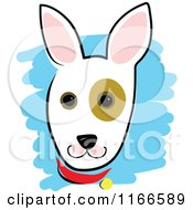 Cartoon Of A Cute Dog Head With A Spot Around The Eye Royalty Free Vector Clipart