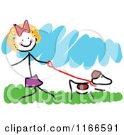 Cartoon Of A Happy Little Stick Girl Walking A Dog Royalty Free Vector Clipart