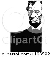 Clipart Of Retro Vintage Black And White Abraham Lincoln With Copyspace Royalty Free Vector Illustration