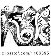 Clipart Of A Retro Vintage Black And White Snake And Floral Design Royalty Free Vector Illustration by Prawny Vintage