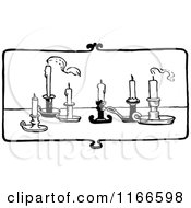 Clipart Of Retro Vintage Black And White Candles On A Table Royalty Free Vector Illustration by Prawny Vintage