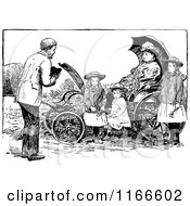 Clipart Of A Retro Vintage Black And White Man Approaching A Woman And Children In A Carriage Royalty Free Vector Illustration