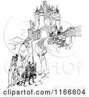 Clipart Of A Retro Vintage Black And White Horseack Knight On A Path To A Castle Royalty Free Vector Illustration