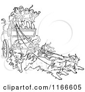 Clipart Of Retro Vintage Black And White Children On A Cat Drawn Carriage Royalty Free Vector Illustration