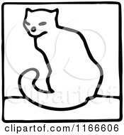 Clipart Of A Retro Vintage Black And White Cat Icon Royalty Free Vector Illustration by Prawny Vintage