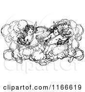 Clipart Of Retro Vintage Black And White Cherubs In A Cloud Royalty Free Vector Illustration