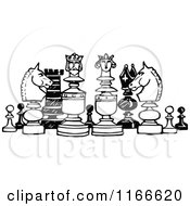 Clipart Of Retro Vintage Black And White Chess Pieces Royalty Free Vector Illustration