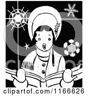 Clipart Of A Retro Vintage Black And White Christmas Caroling Woman Royalty Free Vector Illustration