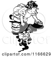 Clipart Of A Retro Vintage Black And White Girl Scrubbing The Floor By Her Doll Royalty Free Vector Illustration by Prawny Vintage