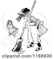 Clipart Of A Retro Vintage Black And White Girl Sweeping By Her Doll Royalty Free Vector Illustration by Prawny Vintage