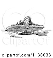 Clipart Of A Retro Vintage Black And White Boy Reading A Giant Book Royalty Free Vector Illustration by Prawny Vintage