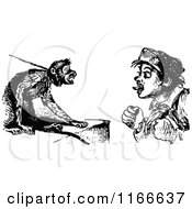 Clipart Of A Retro Vintage Black And White Boy Teasing A Pet Monkey Royalty Free Vector Illustration