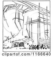 Clipart Of A Retro Vintage Black And White Broken Bridge Royalty Free Vector Illustration by Prawny Vintage